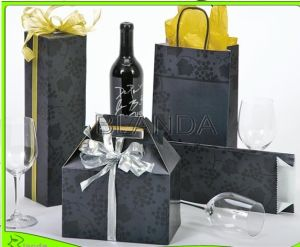 White Art Paper Bag /Wine Bottle Paper Box