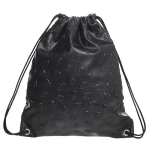 New Hiking Pu Bag Leather Backpack Skull Gym Drawstring String