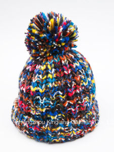 Fashion Warm Space-Dyed Multi-Color Knitted Hat with Pompom pictures & photos