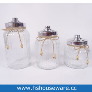 China Striped Clear Glass Jar Wide Mouth With Airtight Metal Lid