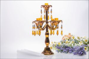 Golden Five Poster Candle Holder for Wedding Decoration pictures & photos