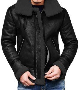 b587d259e061f Xiaolv88 Men′s Winter Fashion Vintage Faux Leather Bomber Coat Fur Lined  Jacket