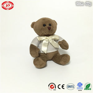 Coffee Color Sitting Plush Soft Stuffed Bear Toy with T-Shirt