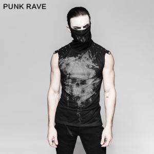 Punk Black Rivets Puff Printing Knitted Collar Men Sleeveless Vest (T-470)