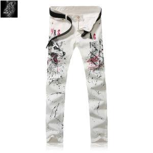 China Stylish Hand Paint Wolf Printed Jeans Denim Mens Slim Fit Pants White Fashion Jogger Zhongshan Jean