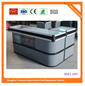 Supermarket Retail Stainless Cash Counter with Conveyor Belt 1054