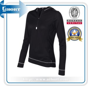 Ladies Slim Fit Plain Black Zip up Hoodie