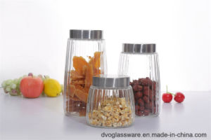 Glass Storage Jar with Stainless Steel Cover