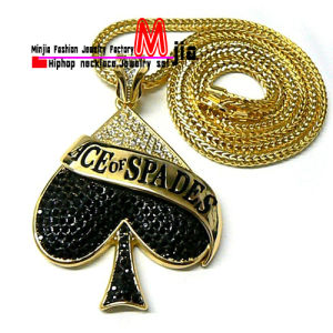 China iced out goldblack ace of spades pendant with chain fashion iced out goldblack ace of spades pendant with chain fashion jewelry necklace fop3191 aloadofball Image collections