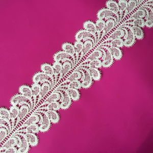 Fashion Embroidery Lace Trim Micro Fiber White Water Melts Lace