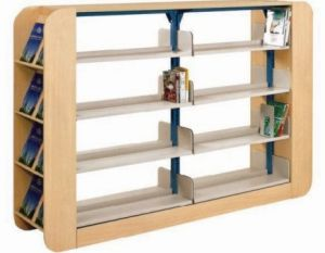 Wood Metal Double Side Library Bookshelf (SF-07B)