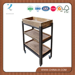3 Shelf Trolley Unit with Wooden Trays