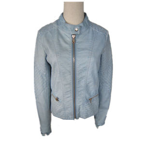 Hot Sale, New Design, Good Customer Service, Blue Leather Jacket