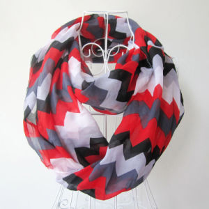 Woman Fashion Wave Printed Polyester Chiffon Infinity Scarf (YKY1099) pictures & photos