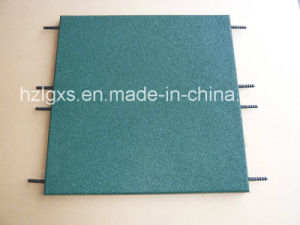Surface Green Dyed Rubber Flooring Tiel with Dowel Hole pictures & photos