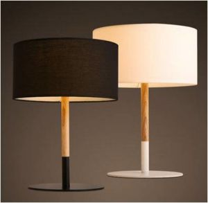 Table Lamp with Wood Tube