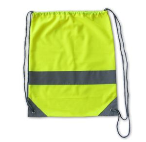 Lime Green Promotional Reflective Strap Drawstring Bags pictures & photos