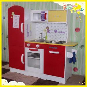 Wooden Red White Kids Pretend Play Kitchen Fridge Cooking