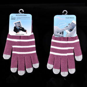 Lady Fashion Stripe Knitted Winter Warm Touch Screen Gloves (YKY5462) pictures & photos