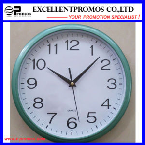 Blue Frame Logo Printing Round Plastic Wall Clock (Item12) pictures & photos