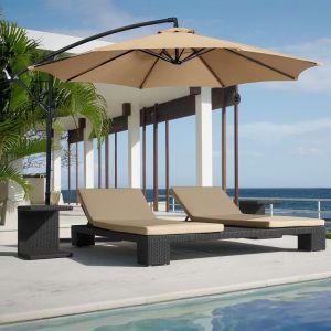 Offset 10 Hanging Outdoor Market New Tan Patio Umbrella Beige