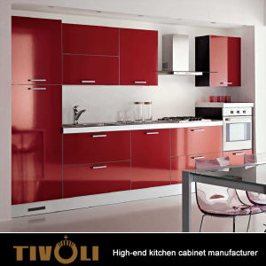 China Red Modern Kitchen With Quartz Countertop Blumotion