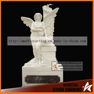 White Marble Carving Archangel Memorial Monument Ts006 pictures & photos