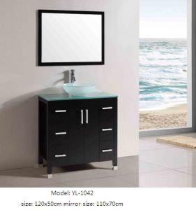 MDF Bathroom Vanity with Glass Sink