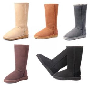 Classic Double Face Sheepskin Winter Tall Boots for Men and Women pictures & photos