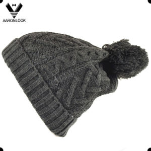 Dark Grey Cable Pattern Acrylic Knitted Beanie Cap for Winter