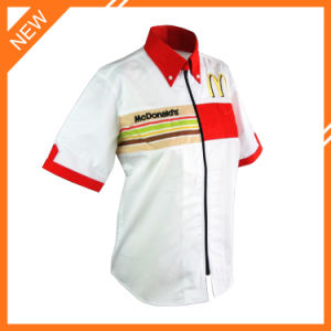 a3670cf29d8 Button Down Half Sleeve Woven Strip Staff Shirt with Logo Embroidered  Uniform