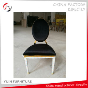 Gold Frame Black Fabric High Class Hotel Bedroom Chair (FC-113)