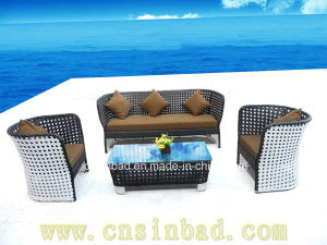 Brown and White Outdoor Rattan Furniture with Aluminum (9504)