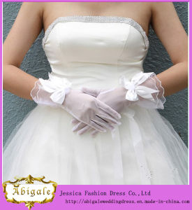 Short Full Finger Tulle Bow Ivory Wedding Gloves (MI 3566)