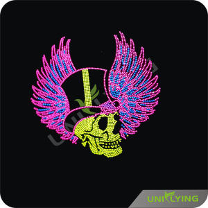 Cool Skull and Bright Wings Rhinestone Transfer Hotfix