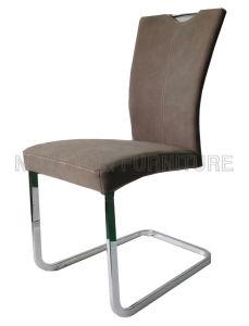 Modern Luxurious Fashion Chrome Steel Foot PU Leather Dining Chair (NK-DC064)