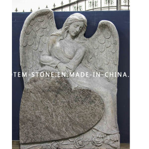 American Grey Angel Carved Granite Cemetery Heardstone with Heart