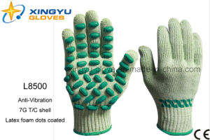 Anti-Vibration T/C Shell with Latex Foam Dots Coated Safety Work Glove (L8500) pictures & photos