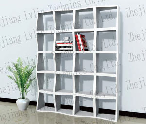 Wooden Bookshelf With Wave Shape And Deluxe Painting