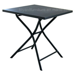 Best Sell Patio Leisure Products Metal Folding Table With Stone Top Brown  Finish For Outdoor Camping