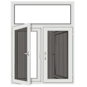 Aluminum Frame Wood Grain Swing Window With Indian Style