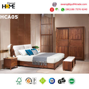 Oak Wood Classical Bedroom Furniture Leather Bed with Storage Drawers  (HCA05)