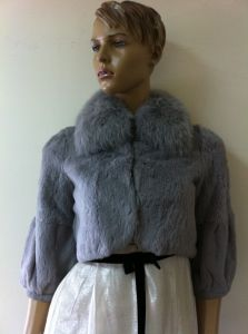 Ladies′ Rabbit Hair Jacket, Fox Fur Collar, Women Clothes