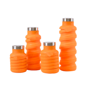 Collapsible Sports Travel Water Bottle – 18 Oz Leak Proof Silicone Foldable Drinking Bottle with Bamboo & Lid with Handle. Perfect for Airplane pictures & photos