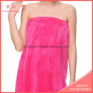 Strapless Coral Fleece Bath Towel with Buttons