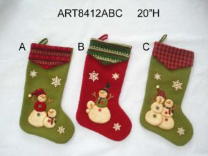 Santa Snowman Stocking with Knitted Cuffs-Christmas Decoration pictures & photos