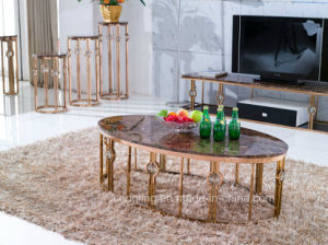 Cheap Oval Marble Golden Coffee Table