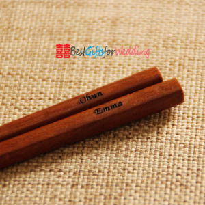 Engraved Personalized Fine Wood Chopsticks Dark Brown