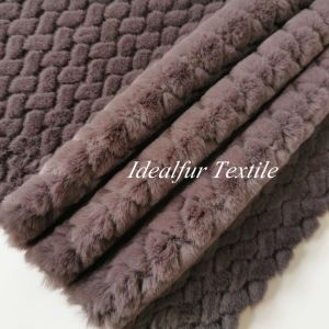 100% Polyester  Deep Purple  Rabbit Faux Fur Fabric with Embossed