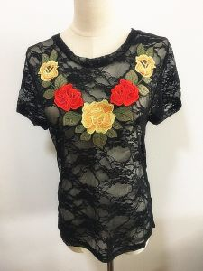 Ladies Fashion Clothing Embroidery Round Neck Tops Woman Garment